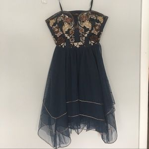 Free People Navy Strapless Dress